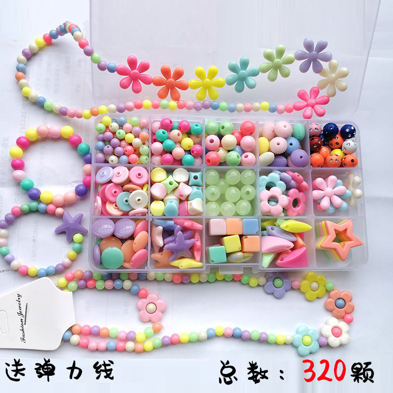 Candy-Colored Beads Girls Beaded Bracelet Handmade Toy Educational DIY Children Beaded Bracelet Beaded Bracelet Necklace Box Gif