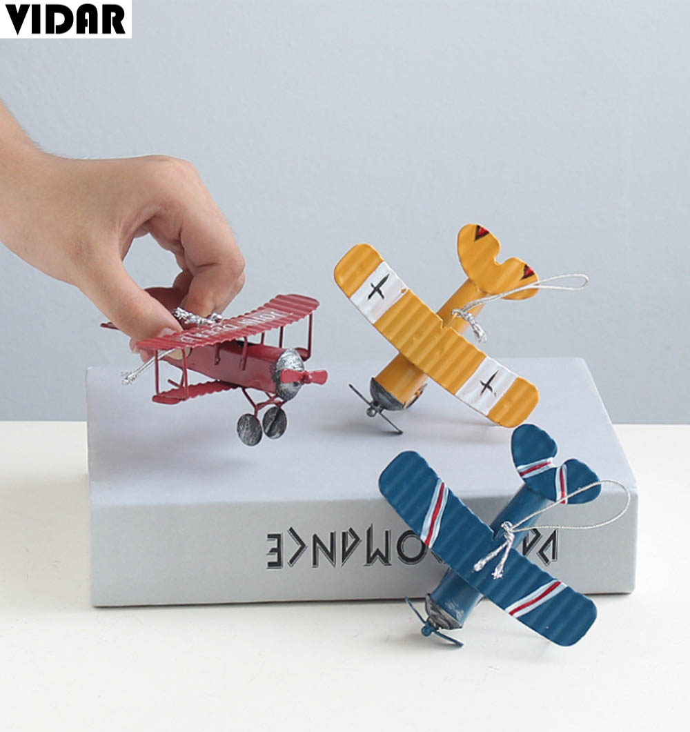VIDAR Iron Retro Airplane Figurines Metal Plane Model Vintage Glider Biplane Miniatures Home Decor Aircraft for Kids Gift image