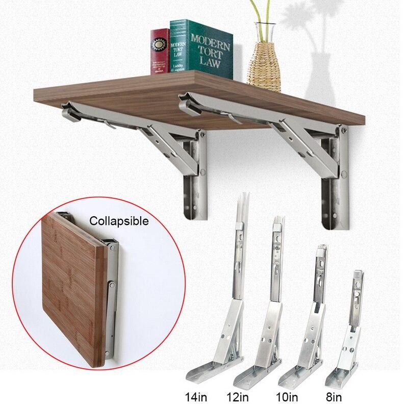 2 pçs 8-14 Polegada comprimento dobrável suporte de ângulo ajustável fixado na parede durável suporte de prateleira de rolamento diy banco de mesa em casa