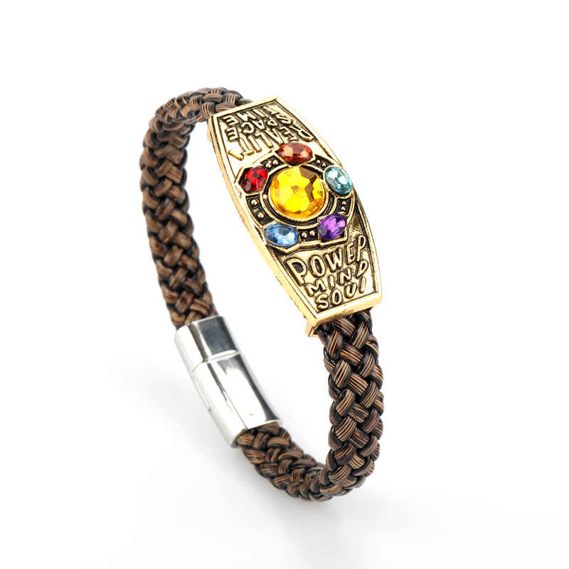 Avengers Endgame Infinity Bracelet Stones Leather Cord Bracelet Cosplay Wrist Strap Hand Chain Prop costume accessories