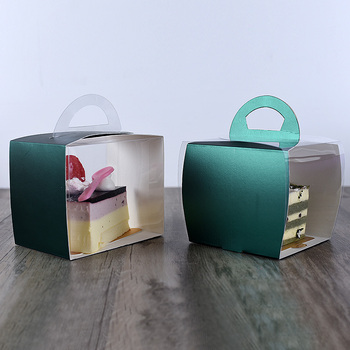 50pcs High quality portable transparent fruit cake packaging box square dessert takeaway packaging plastic paper cup with handle