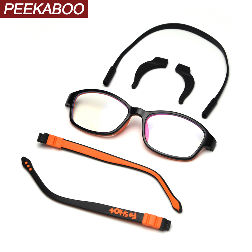 Peekaboo Kids Optical Glasses Frame For Girls Silicone Frame Orange Red Boys Eyeglasses For Children Ultralight Clear Lens