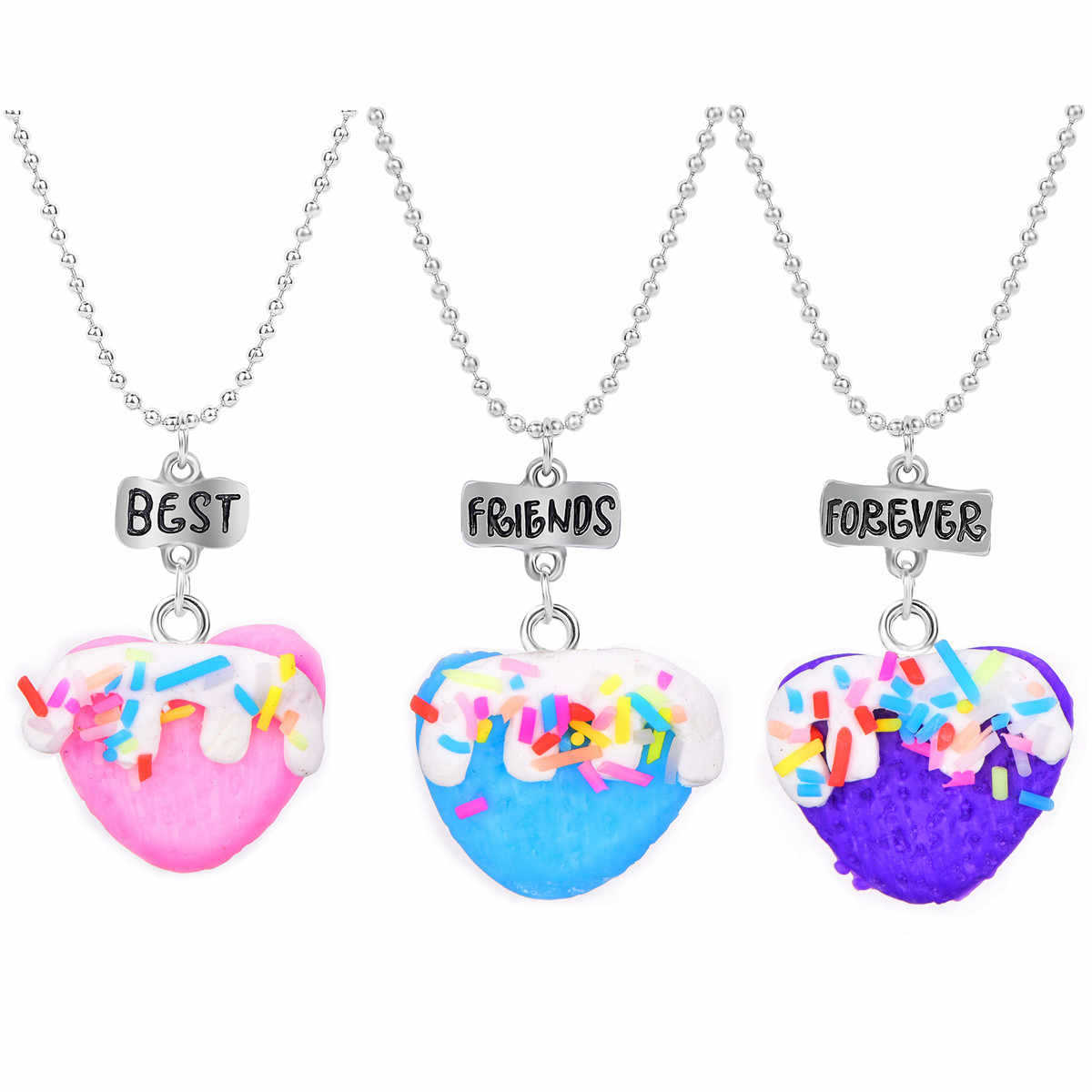 3 In Set Kids Dessert Heart Pendant Necklace Best Friend Forever Necklace For Women Silver Chain BFF Friendship Jewelry
