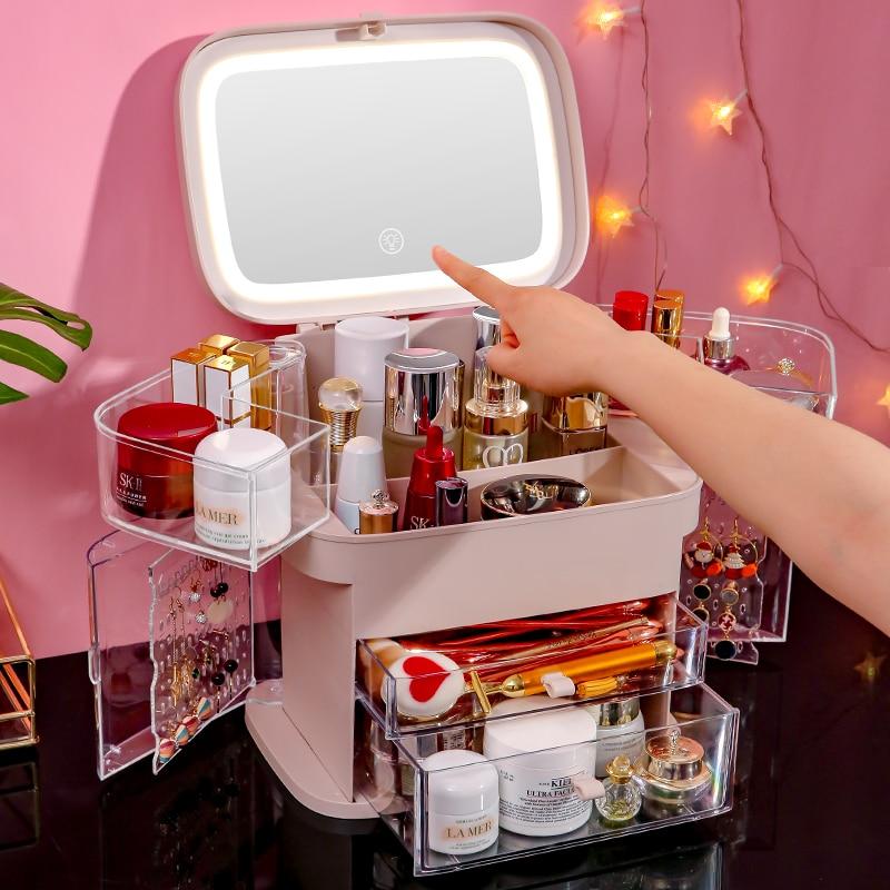 Cosmetics Storage Box Vanity Mirror LED Light Makeup Organizer Dust-proof Drawer Desktop Jewelry Box Portable USB Makeup Case