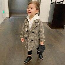 Г. Высококачественное Детское пальто в клетку, шерстяное пальто для мальчиков, модная осенне-зимняя куртка ветровка для мальчиков, зимнее пальто для детей от 6 лет
