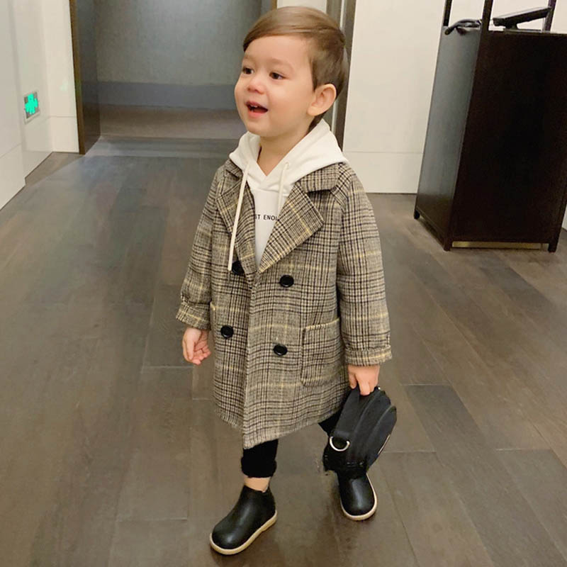 2019 High Quality Lattice Children Coat Wool Coat For Boys Fashion Autumn Winter Jacket Boy Windbreaker Kids Winter Overcoat 6 Y