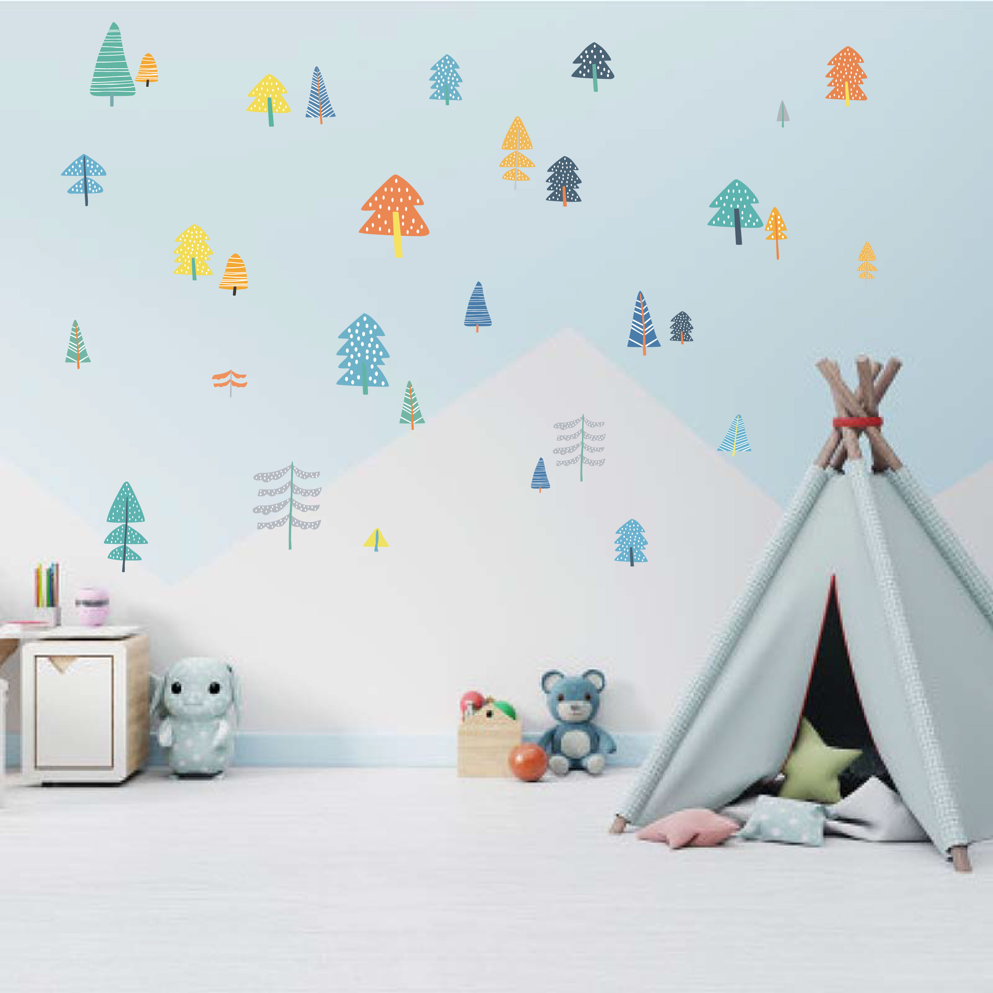 Colorful Woodland Pine Tree DIY Wall Sticker Nursery Art Decor Forest Vinyl Wall Decals For Kids Room Natural Wall Decoration