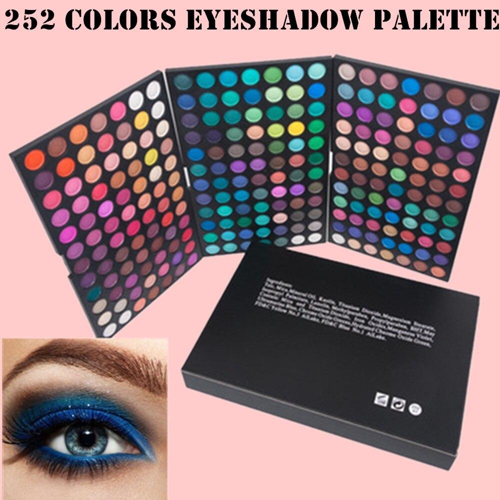 252 цветов s тени для век Палитра для обучения разных цветов Женская Палитра блестящих пигментов металлик бриллиантовый макияж палитра