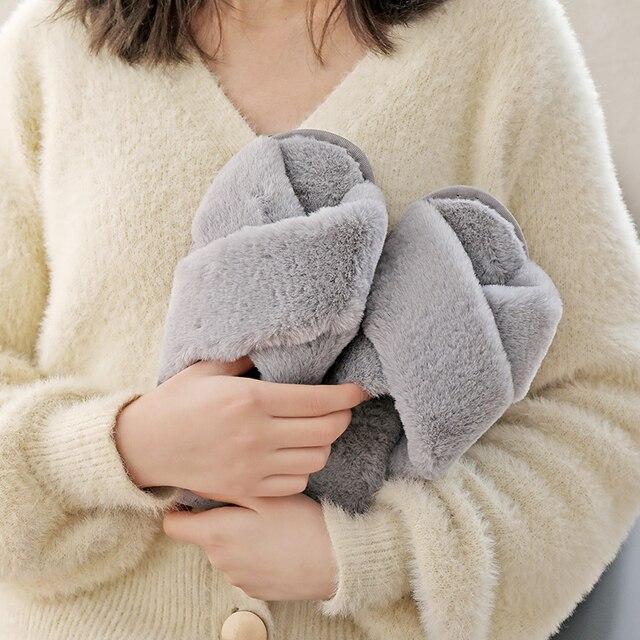 Inverno feminino casa chinelos de pele do falso moda quente sapatos mulher deslizamento em apartamentos feminino slides preto rosa aconchegante casa peludo chinelos 5