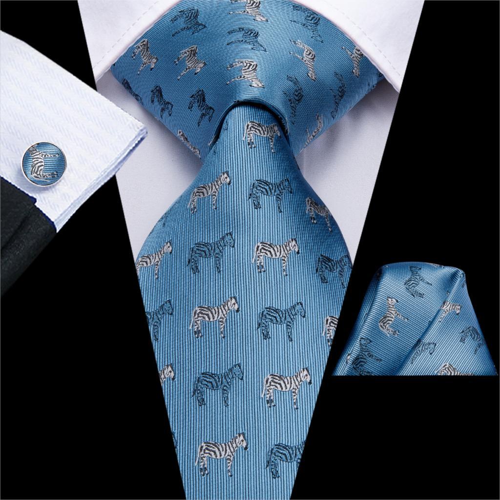 USA Blue Dinosaur Tie Set Mens Silk Printed Necktie Handkerchief Cufflinks Party