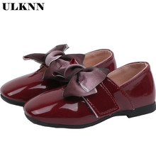 ULKNN New Bow Girl Leather Shoes For School Autumn Party Big