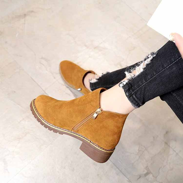 Femmes bottines troupeau fermeture éclair solide bottes courtes bas talon carré chaussures simples garder au chaud hiver chaussons Botas Mujer Invierno 2019