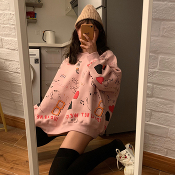 Harajuku Oversized Hoodie Sweatshirt Women Autumn Doodling Print Hoodies Long Sleeve Pullover Loose Cute Hoodie Funny Females image