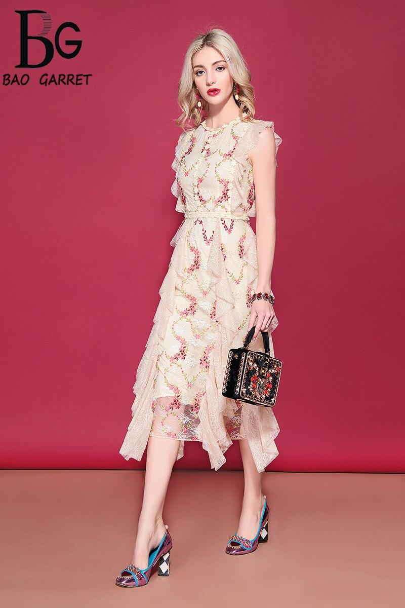 Baogarret 2019 robe de vacances d'été de piste femmes sans manches maille dentelle fleur broderie mi-mollet ruché volants robe