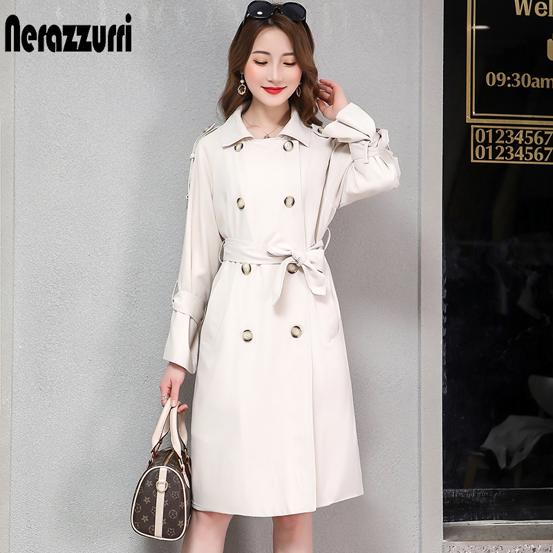 Nerazzurri trench coat for women plus size black beige pink double breasted female casual oversize long