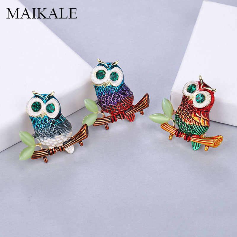 Maikale Colorful Enamel Burung Hantu Bros Pin Biru Kristal Mata Burung Bros untuk Wanita Kemeja Suit Girl Tas Liontin Aksesoris Hadiah