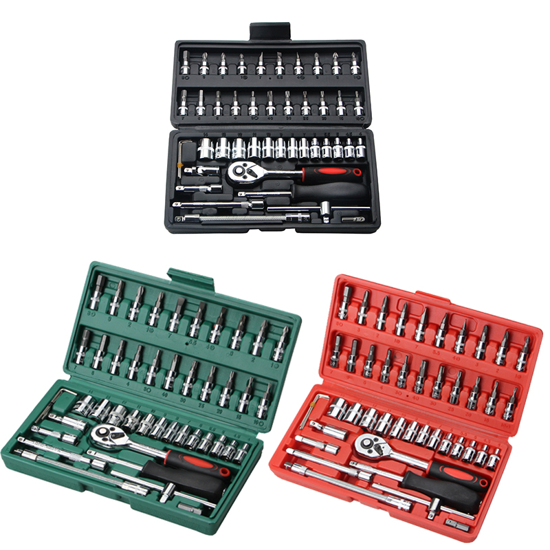 46 pçs/set multifunctionl conjunto chave de catraca mecânico profissional ferramentas reparação combinação kit com estojo para reparação automóvel