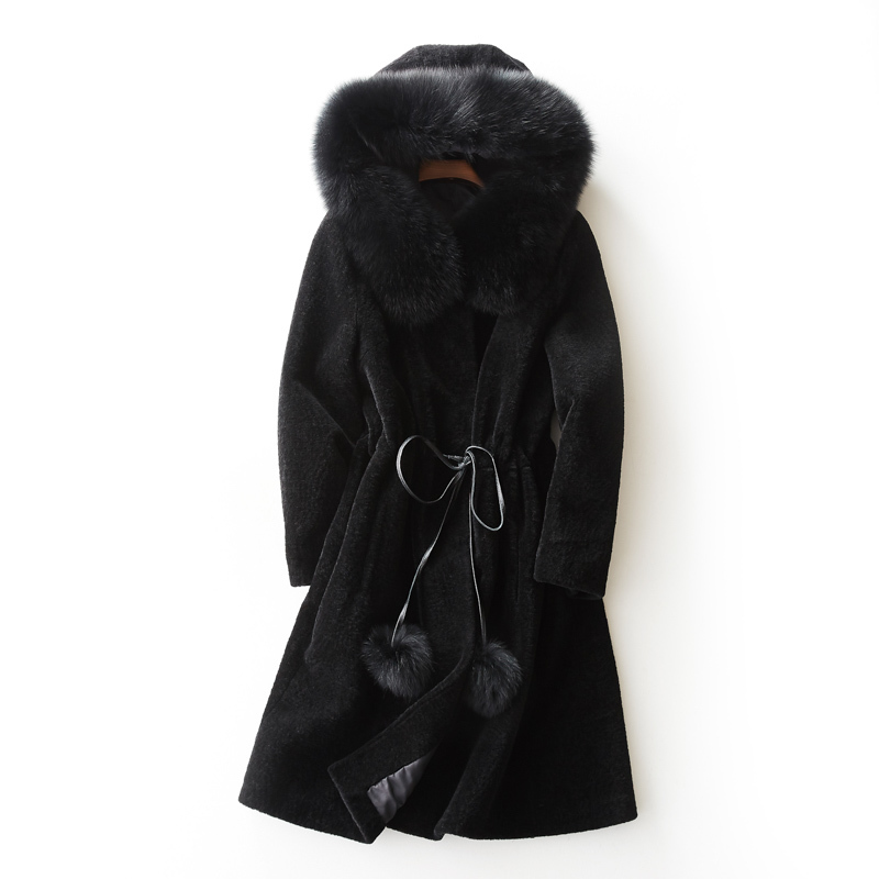 Geniune Fur Coat Winter Jacket Women Warm Thick Real Sheep Shearing Coat Fox Fur Collar Outwear Abrigos BF32149 MF439