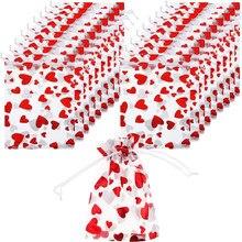 100 sztuk/zestaw walentynki miłość drukowane pakiet siatkowa torba na ślub prezent urodzinowy torba do pieczenia ciastek worek do pakowania
