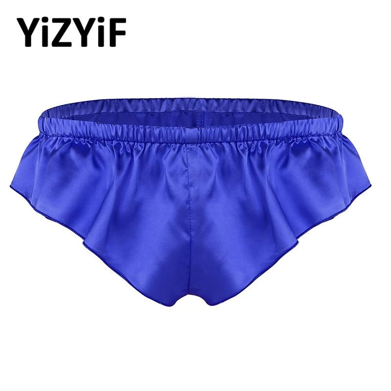 Men Smooth Soft Satin Lingerie Sissy Underwear Lovely Shiny Lotus Leaf Shape Panties G-string Bikini Underpants Gay Sexy Thong