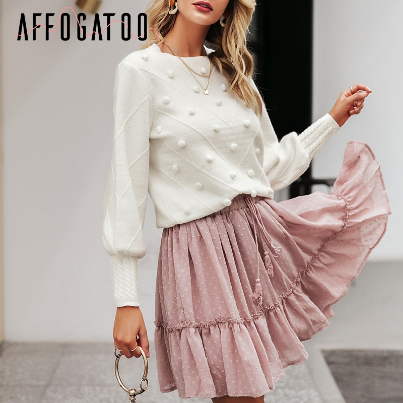 Affogatoo Elegant O Neck Pompon Women White Sweater Casual Lantern Sleeve Knitted Pullover Female Sweater Ladies Sweet Jumpers
