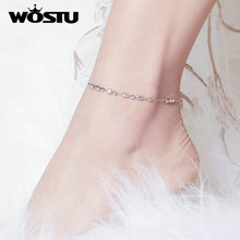 26cm Anklet 925-Jewelry Silver WOSTU Women 100%925-Sterling-Silver for Fashion Simple