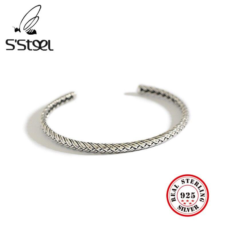 Bracelets en acier s en Argent Sterling 925, Bijoux féminins, poignets vintage ouverts et redimensionnables, collection 2019