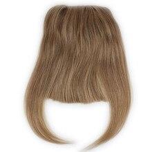 #27 Color Brazilian Human Hair Clip in Hair Bang Full Fringe Short Straight Hair Extension for women 6 8inch