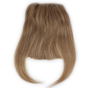 Image 1 - #27 Color Brazilian Human Hair Clip in Hair Bang Full Fringe Short Straight Hair Extension for women 6 8inch