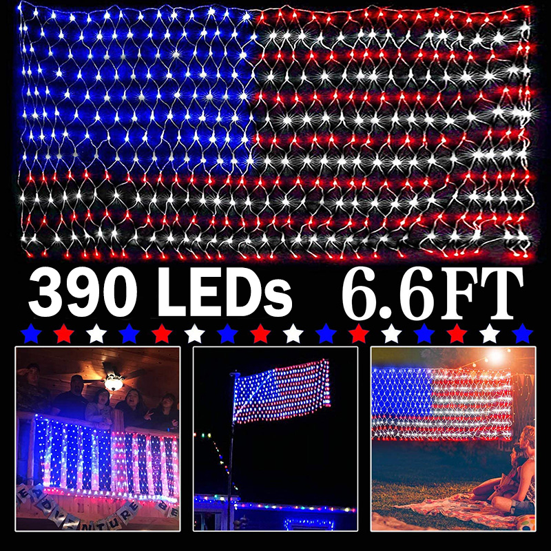 2X1M 390 LEDs American Flag Lights Waterproof US Flag Net Light For Independence Day Yard Garden Christmas Party Decoration