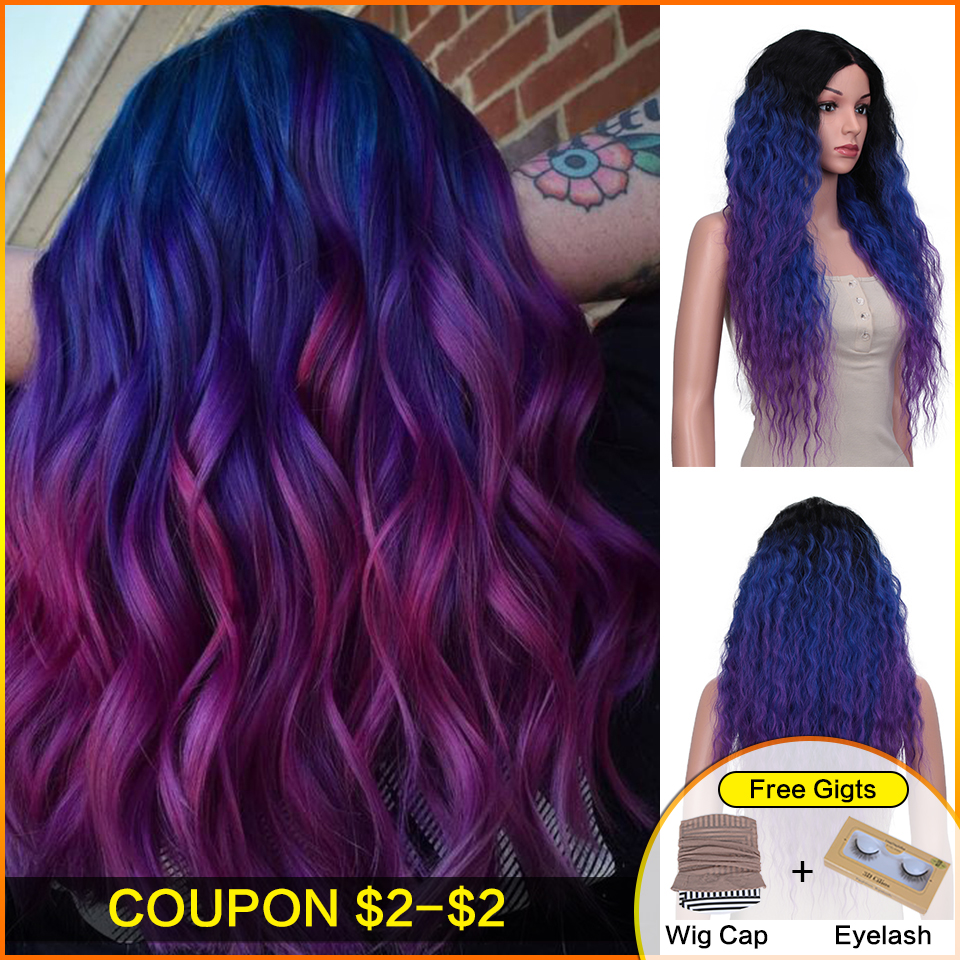 Bella Kinky Curly Heat Resistant Hair Black Highlight Mixed Purple Blue Women 28 Inch Long Synthetic Lace Front Party Daily Wig
