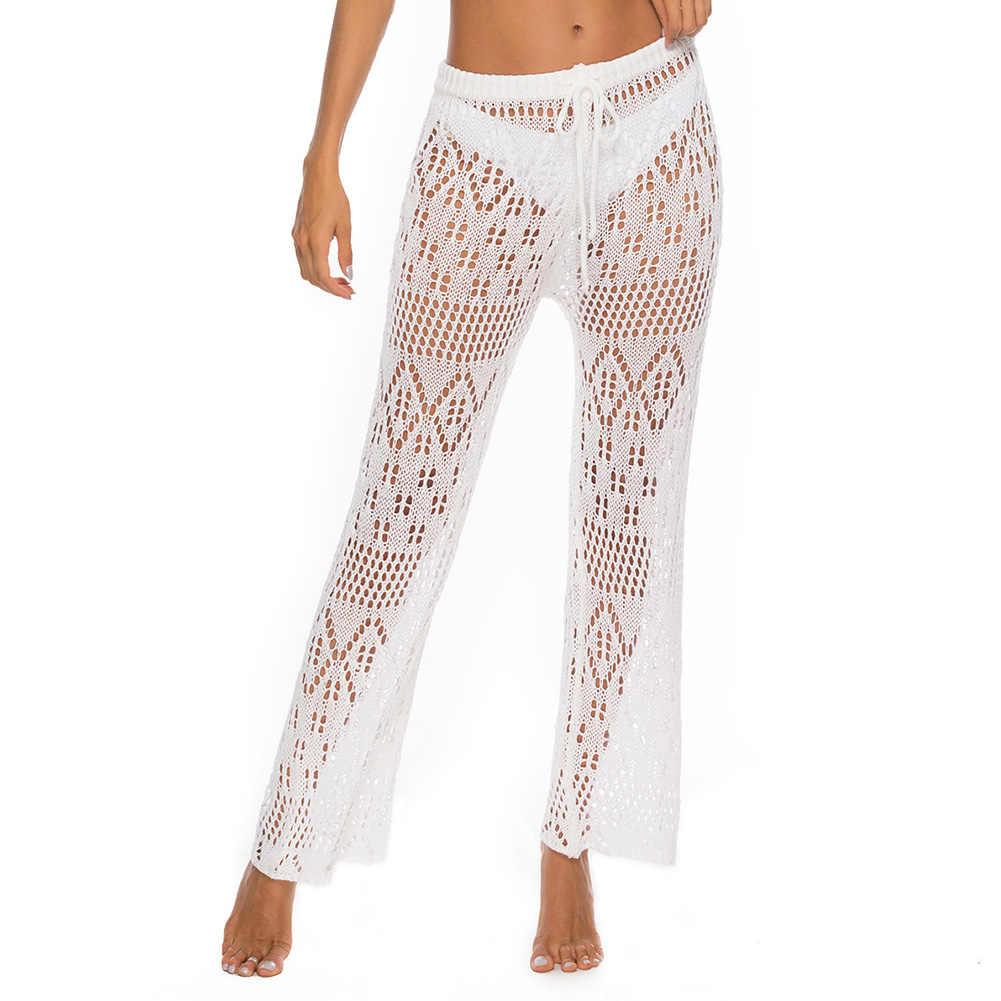 Uzun Pantolon Yüksek Bel Bikini Cover Up Parti Gevşek Kadın Pantolon İpli Geniş Bacak Seksi Tığ Örme Clubwear