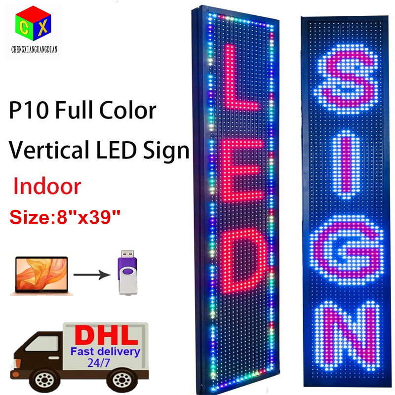"""Vertical Led Sign, Scrolling LED Vertical Signs Full Color SMD PH10mm 8""""x39"""" Message Display Indoor For Ad Board"""