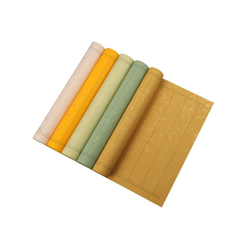 Colorful Batik Xuan Paper Letterheads 10pcs Golden Foils Half Ripe Xuan Paper Small Regular Script Calligraphy Paper with Grids