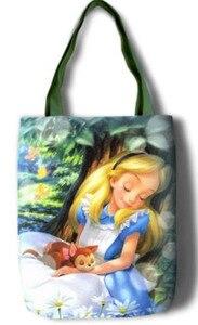 Image 5 - New Alice Girls Women Canvas Shoulder Bags Large Handbag Cute Cartoon School Book Shopping Bag