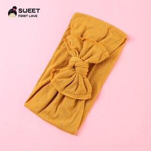 Image 4 - Милые детские повязки на голову, эластичная простая повязка на голову, тюрбан для девочек, оптовая продажа, резинки из мягкой ткани, головной убор с бантом, аксессуары для волос для детей