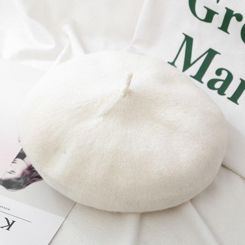 Шерстяные женские Зимние береты, роскошные бархатные винтажные кашемировые женские теплые модные береты, шапки для девушек, плоская кепка, берет для женщин - Цвет: Style 2 White