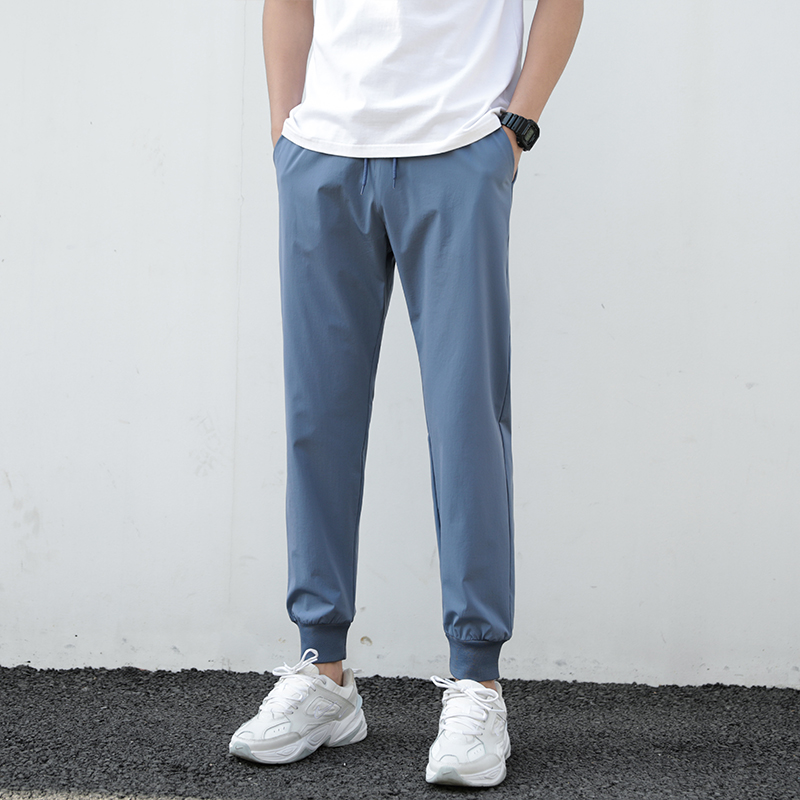 Summer Pants Men 2021 Ultra-Thin Joggers Sweatpants Fashion Casual Fitness Trousers Breathable Quick Dry Ice Silk Men's Pants 3