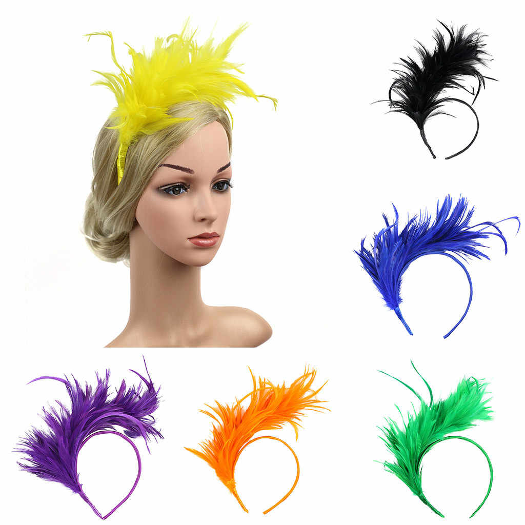 Hair Accessories For Women Vintage Colorful Burlesque Headpiece Flapper Ostrich Feather Fancy Headband заколки для волос