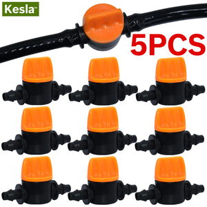 5PCS Mini Valve with 4/7mm Hose Garden Irrigation Barbed Water flow control valve Agriculture tools Drip Irrigation Fittings(China)