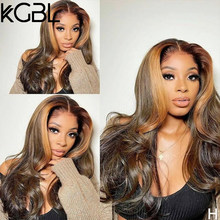 KGBL Highlight Color Wavy 13x4 Lace Front Human Hair Wigs 180% Density 8-24'' Pre-Plucked Non-Remy For Women Brazilian Medium