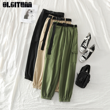 Net Red Casual Pants To Send Belts Early Spring 2020 New Women's Hong Kong Flavor High Waist Tooling Beam Feet Harlan Trousers фото