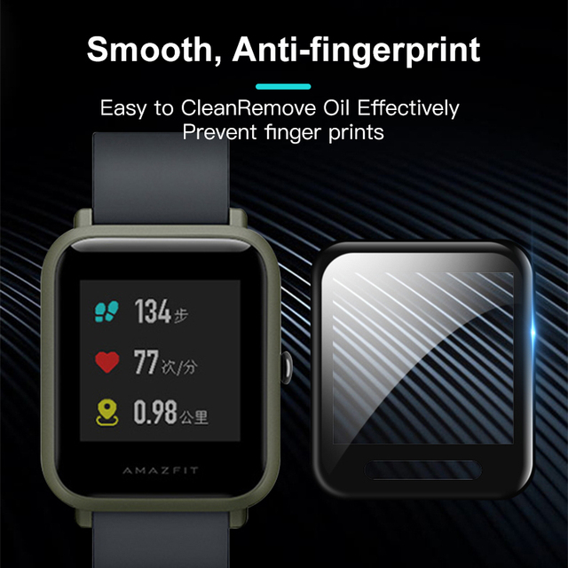20D Curved Edge Protective for xiaomi Amazfit Bip glass accessories HD film Full cover Huami Amazfit Bip screen protector