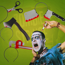 Liviorap Halloween Party Decoration Makeup Horror Props Trick Funny Wear Head Knife Scary Decorations