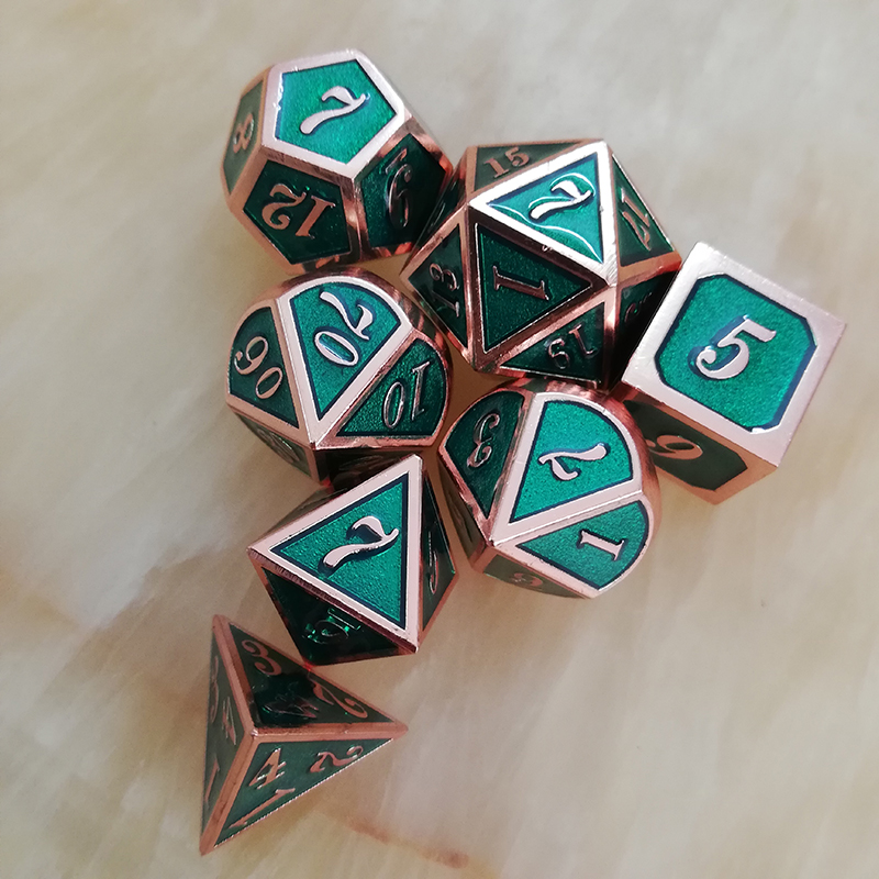 Metal <font><b>Dice</b></font> D4 <font><b>D6</b></font> D8 D10 D% D12 D20 with Black Soft Drawstring Pouch for DnD RPG Board Games red & <font><b>Green</b></font> image