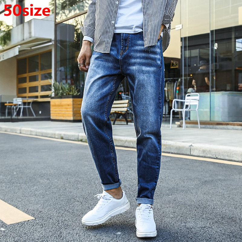 Young Men's Plus Size Jeans Oversized Pants For Men Cotton Blue Jeans Classic Style 50 48 Designer Jeans Men High Quality