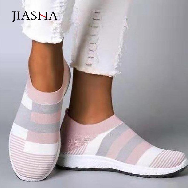 Ayakk.'ten Kadın Topuksuz Ayakkabı'de Ayakkabı kadın ayakkabı 2020 yeni slip on nefes örgü çorap kadın rahat düz ayakkabı mokasen vulkanize ayakkabı kadın artı boyutu title=