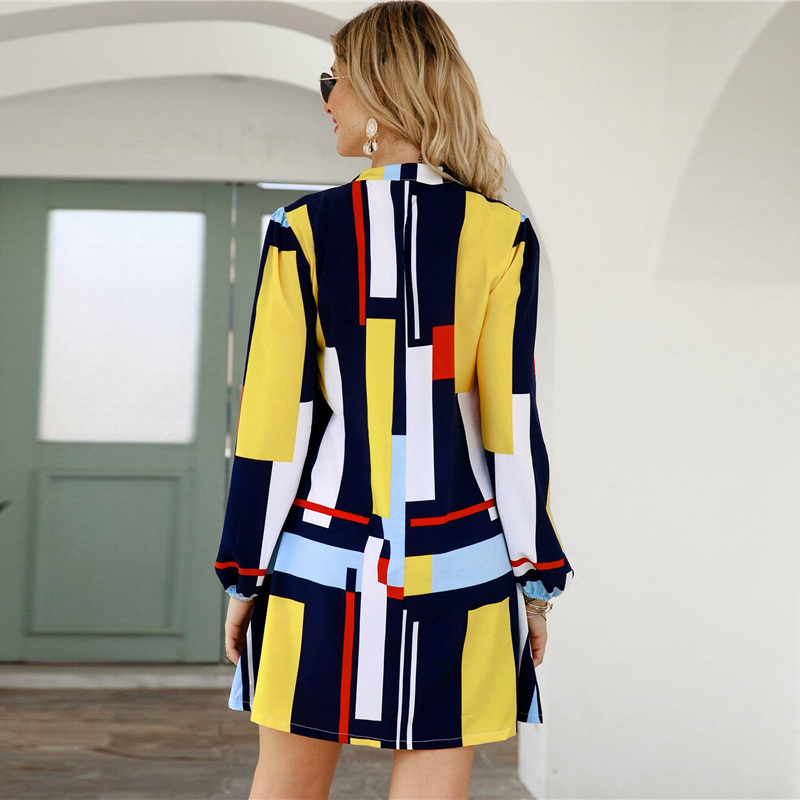 SHEIN Geometric Print Notched Collar Casual Shirt Dress Women Spring Street Wear Long Sleeve Ladies Straight Short Dresses