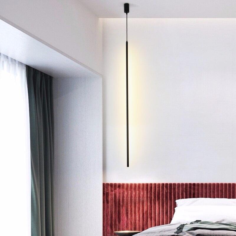 Moderno Striscia Lampade a sospensione Soggiorno camera Da Letto Comodino Lampada A Sospensione A LED Linea di illuminazione Lamparas De Techo Colgante hanglamp - 3