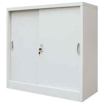 VidaXL Office Cabinet With Sliding Doors Metal 90x40x90 Cm Grey 245965 -